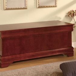 Coaster - Cherry Traditional Cedar Chest - This updated Louis Philippe cedar chest is the perfect addition to your bedroom or living room. This chest is cedar lined, with KD construction. Comes in Oak and Cherry.