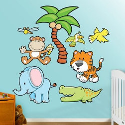 Jungle Animals Wall Decal - Palm Tree - The Fathead Jungle Animals Wall Decal - Palm Tree is made from tough, tear and fade-resistant vinyl and features high-resolution 3D graphics. Fathead wall graphics use a low-tack adhesive and can be moved and removed from walls without damaging surfaces.