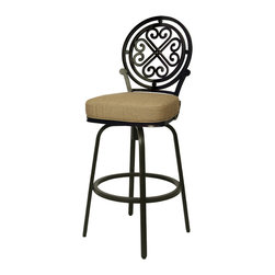 "Pastel Furniture - Island Falls Outdoor Barstool - The Island Falls 30"" height outdoor swivel barstool with aluminum frames with cast aluminum back upholstered in Sunbrella fabric. This beautifully designed outdoor barstool with its engaging mix of color and texture will take your outdoor living to a whole new place."