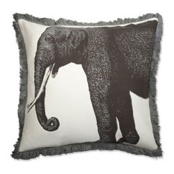 Thomas Paul Elephant Bazzar Linen Pillow - This very elegant elephant pillow by Thomas Paul would be a wonderful addition to a couch, bed or chair. It is masculine enough to work beautifully in a man's study or boy's bedroom as well.