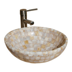 """The Allstone Group - L-VMR-SS-16WS Polished #3 Vessel Sink - Natural stone strikes a balance between beauty and function. Each design is hand-hewn from 100% natural stone.  Allstone mosaic vessel sinks are our only product that is not carved from one single piece of stone.  Onyx was used in Egypt as early as the Second Dynasty to make bowls and other pottery items. Onyx is also mentioned in the Bible at various points, such as in Genesis 2:12 """"and the gold of that land is good: there is bdellium and the onyx stone"""", and such as the priests' garments and the foundation of the city of Heaven in Revelation."""