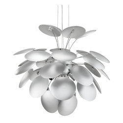 "LexMod - Bloom Pendant Light in Silver - Bloom Pendant Light in Silver - Give life to an interplay of vibrantly reflecting light. Bloom brings forth a stunning display of both the suggestive and overt aspects of light itself. Bask as the glow of the carefully arranged opaque silver disks reach illumination. Spontaneous and wonderfully rewarding, Bloom puts together an array of pieces and develops them into one cascading glow of brilliance. Set Includes: One - Bloom Modern Pendant Light Glamorous modern pendant lamp, Opaque aluminum oval petals, Molded aluminum rods connect petals, Holds three 60 watt light bulbs (Not Included), Holds up to a 150 Watt Bulb Overall Product Dimensions: 25""L x 25""W x 20""H - Mid Century Modern Furniture."