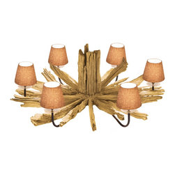 Scandinavian Design - Rustique  Driftwood Chandelier With 6 Lights - Elegant, Beautiful , Sophisticated   Are not enough words to say about this one of a kind Driftwood chandelier, made of natural driftwood  and 6 natural Linen shades that are mounted over 6 UL Listed sockets 40 Watts Max