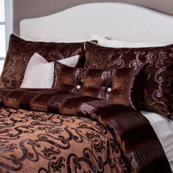 Siscovers - Casablanca Multi-Colored Six Piece Queen Duvet Set - - Old Hollywood Glamour Collection  - Set Includes: Duvet - 94x98, Two Queen Shams - 30x20, One Decorative Pillow - 16x16, One Decorative Pillow - 26x14  - Inserts: Polyester  - Duvet Material: 80% Polyester, 20% Nylon  - Sham Material: 80% Polyester, 20% Nylon  - Pillow Material: 100% Polyester  - Workmanship and materials for the life of the product. SIScovers cannot be responsible for normal fabric wear, sun damage, or damage caused by misuse  - Reversible Duvet and Shams  - Care Instructions: Dry Clean Only  - Made in USA of Fabric made in China Siscovers - CASA-XDUQN6