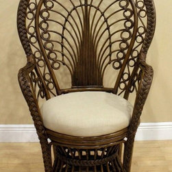 Hospitality Rattan - Rattan Peacock Chair Rattan w Cushion in Anti - Fabric: Patriot KiwiThe peacock chair finds its elegant inspiration in the most beautiful strutting bird. This artistic recreation is a regal choice with its fountain of swirls across the high back and sides. Rattan cane framing and braided accents glisten with an antique brown finish. Made of Rattan Poles & Woven Wicker. Finished in Antique Color. . Fully assembled. Cushion is optional and not included. Tropical island style design. Overall: 28 in. L x 32 in. W x 48 in. H (16 lbs.)The Peacock Chair in rattan is woven with real rattan poles, into a wicker look decor.