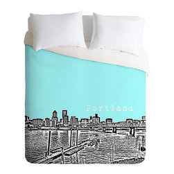 DENY Designs - Bird Ave Portland Ice Duvet Cover - Turn your basic, boring down comforter into the super stylish focal point of your bedroom. Our Luxe Duvet is made from a heavy-weight luxurious woven polyester with a 50% cotton/50% polyester cream bottom. It also includes a hidden zipper with interior corner ties to secure your comforter. it's comfy, fade-resistant, and custom printed for each and every customer.