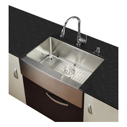 Kraus - Kraus 30 in. Farmhouse Kitchen Sink with Chrome Faucet, Soap Dispenser - Add an elegant touch to your kitchen with unique Kraus kitchen combo.