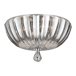 """Worldwide Lighting - Mansfield 4 Light Chrome Finish Crystal Flush Mount Ceiling Light 14"""" Round - This stunning 4-light Crystal Flush Mount only uses the best quality material and workmanship ensuring a beautiful heirloom quality piece. Featuring a radiant chrome finish and finely cut premium grade clear crystals with a lead content of 30%, this elegant ceiling light will give any room sparkle and glamour."""