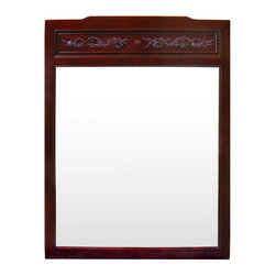 China Furniture and Arts - Rosewood Dragon Design Mirror - Beveled in rosewood frame with double imperial prosperity dragons on the top, our classic rectangle rosewood mirror easily fits a variety of decorating styles. To hang in the bedroom, bathroom or hallway. Hand applied beautiful dark cherry finish. Mounting brassware included.