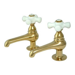 Kingston Brass - Twin Handle Basin Faucet Set - Our basin faucets combine stylish, architectural body work with immaculate design lines and fine detailing. This basin faucet features a pair of classical style lever handles made in high quality solid brass, with a 2 GPM/7.6 LPM at 60 PSI flow rate, 3-1/2in. spout reach, 1-1/8in. spout clearance, a 1/4 turn ceramic disc cartridge, 1/2in. IPS and a ten year limited warranty to the original consumer.