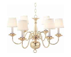 """Renovators Supply - Chandeliers Bright Solid Brass 6 light Chandelier eggshell shades - Ceiling Lights:Our Williamstown Brass Chandelier has 6 arms & a touch of Victorian elegance. Measures 17 1/2"""" high x 26 1/2"""" wide.  The ceiling pan has a diameter of 5 1/8"""". Shades (in eggshell) are included with this item."""