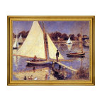 """Pierre Auguste Renoir-18""""x24"""" Framed Canvas - 18"""" x 24"""" Pierre Auguste Renoir A Sailboat at Argenteuil framed premium canvas print reproduced to meet museum quality standards. Our museum quality canvas prints are produced using high-precision print technology for a more accurate reproduction printed on high quality canvas with fade-resistant, archival inks. Our progressive business model allows us to offer works of art to you at the best wholesale pricing, significantly less than art gallery prices, affordable to all. This artwork is hand stretched onto wooden stretcher bars, then mounted into our 3"""" wide gold finish frame with black panel by one of our expert framers. Our framed canvas print comes with hardware, ready to hang on your wall.  We present a comprehensive collection of exceptional canvas art reproductions by Pierre Auguste Renoir."""