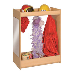 """Steffywood - Steffywood Kids Costume Organizer Wooden Dress Up Carousel Storage Cabinet - Three double coat hooks with one acrylic mirror. Two inch deep storage well on top with additional storage at bottom.Maple faced scratch resistant melamine panels are 5/8""""thick. All edges have full finished rounded smooth corners. Sturdy dado construction with 1/4""""thick wood grained recessed back panel. Made in the USA. GreenGuard certified."""