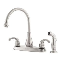 Price Pfister - Price Pfister GT36-4DSS Treviso 4-Hole Double Handle Centerset Lead Free Kitchen - Price Pfister GT36-4DSS Treviso 4-Hole Double Handle Centerset Lead Free Kitchen Faucet in Stainless SteelTime-honored qualities such as elegance, tradition and symmetry have been gracefully reflected in the Treviso kitchen faucet. This two-handled faucet mirrors the collection's classic Italian design, intricately detailed metal lever handles and elegant arching spout.Price Pfister GT36-4DSS Treviso 4-Hole Double Handle Centerset Lead Free Kitchen Faucet in Stainless Steel, Features:• 4 Hole Installation