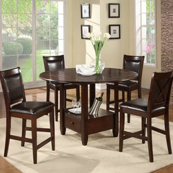 "Alpine Furniture - Morgan 5 PC Counter Height Set - Morgan 5 PC Counter Height Set; This set includes Drop Down Round To Square Counter Height Table and 4 pcs Counter Height Chair with Faux Leather Cushion; Espresso Finish; Product Material: Rubberwood Solids and Birch Veneer; Table folds down to a 42"" Square Table; Seat Height: 25""; Country of Origin: Vietnam; Dimensions: Table: 59.5""L x 59.5""W x 36""H; Chairs: 22.75""L x 20.5""W x 41.75""H"