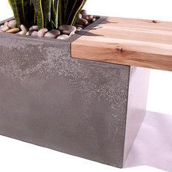 """TAO Planter Bench - Enjoy this beautiful concrete and wood planter bench indoors or outside! Planter and support can be made to order in your choice of either natural gray or white concrete. Bench tops are available in dark walnut or light hickory wood. Bench stands 16"""" tall, is 14"""" wide and can be made up to 86"""" long."""