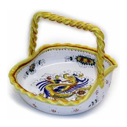 Artistica - Hand Made in Italy - RAFFAELLESCO: Basket Square Handle - RAFFAELLESCO Collection: Among the most popular and enduring Italian majolica patterns, the classic Raffaellesco traces its origin to 16th century, and the graceful arabesques of Raphael's famous frescoes.