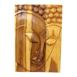 Kammika - Buddha Panel Ushnisha Sust Wood 24 x 36 inch Ht w Livos Eco Friendly Oak Oil Fin - This inspiring Buddha Panel Ushnisha 24 inch length x 36 inch height x approximately 5 inch thickness, including the approximately 3 inch protruding nose, Sustainable Monkey Pod Wood in Eco Friendly, Natural Livos Oak Oil Finish Wall Panel presents Ushnisha, a three dimensional oval at the top of the head of the Buddha. It symbolizes his wisdom and openness as an enlightened being. The first representations of the Buddha in the 1st century represent him with a topknot, rather than a cranial knob. Discover the effect of Buddha in the stage of achieving knowledge, Ushnisha, when you display this panel, which has been carved from joined panels. The panel has two embedded flush mount Keyhole hangers on the topmost securing crossbar on the back for a protruding screw from your wall. Carved by craftspeople in Thailand, who spend hours shaping and finishing these wonders of wood made of sustainable Monkey Pod wood grown for the woodcarving industry, each is a unique creation. Livos Oak oil creates a water resistant and food safe matte finish. These natural oils are translucent, so the wood grain detail is highlighted. The light and dark portions turn to darker shades of brown over time and the alkaline in the oils creates a honey orange color. We make minimal use of electric hand sanders in the finishing process. Panels are dried in solar or propane kilns. No chemicals are used in the process, ever. After each piece is carved, dried, sanded, and rubbed with Livos oil, they are packaged with cartons from recycled cardboard with no plastic or other fillers. The color and grain of your piece of Nature will be unique, and may include small checks or cracks that occur when the wood is dried. Sizes are approximate. Products could have visible marks from tools used, patches from small repairs, knot holes, natural inclusions or holes. There may be various separations or cracks on your piece when it arrives. There may be some slight variation in size, color, texture, and finish.Only listed product included.
