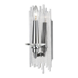 Candice Olson - Trevor Modern Art Deco Silver 1 Light Sconce - You may have to step up your decorating skills once you add this polished sconce to your wall. There's a definite possibility it will cause everything around it to seem a little shabby and drab.