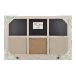"""Lightaccents - Burlap, Chalk & Linen Framed Wall Organizer with Knobs 34""""x22""""(Distressed White) - This message board features a Distressed Wooden Framed Burlap Board / chalkboard & Linen combination."""