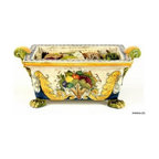 Artistica - Hand Made in Italy - FLORENTINE: Rectangular cachepot - FLORENTINE Collection: Royal elegance sparkles from these original hand-painted majolica items from our new Florentine collection.