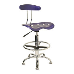 Flash Furniture - Flash Furniture Vibrant Deep Blue and Chrome Drafting Stool with Tractor Seat - Quality chair at an amazingly affordable price! This sleek, modern stool conforms to several areas in the home or office. The molded tractor seat offers great comfort. The Height adjustable capability of this stool allows you to use the stool at the Dining table and bar table and anywhere in between. [LF-215-DEEPBLUE-GG]