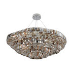 Allegri by Kalco - Gehry Chrome 21-Light 39-Inch Wide Bowl Pendant with Firenze Mixed Crystal - - Canopy Dimensions: 5-Inch W x 1.5-Inch H  - Chain Length: 96-Inch  - Wire Length: 132-Inch  - Bulb is not included  - Crystal Name: Firenze Mixed Allegri by Kalco - 026353-010-FR000