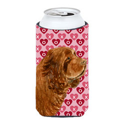 Caroline's Treasures - Sussex Spaniel Hearts Love Valentine's Day Tall Boy Koozie Hugger - Sussex Spaniel Hearts Love Valentine's Day Tall Boy Koozie Hugger Fits 22 oz. to 24 oz. cans or pint bottles. Great collapsible koozie for Energy Drinks or large Iced Tea beverages. Great to keep track of your beverage and add a bit of flair to a gathering. Match with one of the insulated coolers or coasters for a nice gift pack. Wash the hugger in your dishwasher or clothes washer. Design will not come off.
