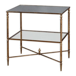 Uttermost - Uttermost Henzler Lamp Table - Gold leaf finish with heavy antiquing on iron frame with iron cross stretchers. Top is reinforced mirror and gallery shelf is clear tempered glass.