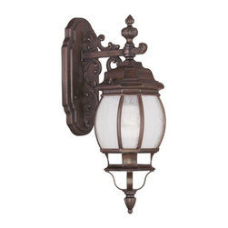 "Livex Lighting - Livex Lighting 7901 Frontenac 20 Inch Tall Outdoor Wall Sconce - Livex Lighting 7901 Frontenac One Light Outdoor Wall SconceShowcasing a regal style, the Frontenac single light 20"" tall top mount outdoor wall sconce features intricate scroll work, a tall decorative finial, and beautiful seeded glass that will enhance the appeal of the outside of your home.Livex Lighting 7901 Features:"