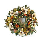"""Village Lighting - Cream Gold LED Wreath - The magic begins at your front door! This beautiful 30"""" artificial wreath is adorned with traditional pinecones, rustic straw-woven bulbs, gold-leafed style pears, beaded petite green apples and silk Magnolia flowers. Each wreath comes pre-lit with 100 ultra-bright, warm clear LED mini-lights and a multifunction battery pack. You can select the lights to always be on, or use the convenient built-in timer to automatically turn on the lights each evening for 6 hours. Matching garland sold separately."""