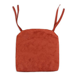 "Chooty & Co. - Chooty Passion Suede 17 in. Pleated Round Foam Seat Cushion with Ties - OS17K814 - Shop for Cushions and Pads from Hayneedle.com! The Chooty Passion Suede 17 in. Pleated Round Foam Seat Cushion with Ties will turn any seat into a haven of heavenly comfort. This plush cushion secures easily to a variety of chairs with durable strong threads that tie and untie with ease. This cushion is ridiculously plush and upholstered 100-percent polyester suede fabric for extreme comfort. Available in a variety of colors. About Chooty & Co.A lifelong dream of running a textile manufacturing business came to life in 2009 for Connie Garrett of Chooty & Co. This achievement was kicked off in September of '09 with the purchase of Blanket Barons well known for their imported ""soft as mink"" baby blankets and equally alluring adult coverlets. Chooty's busy manufacturing facility located in Council Bluffs Iowa utilizes a talented team to offer the blankets in many new fashion-forward patterns and solids. They've also added hundreds of Made in the USA textile products including accent pillows table linens shower curtains duvet sets window curtains and pet beds. Chooty & Co. operates on one simple principle: ""What is best for our customer is also best for our company."""