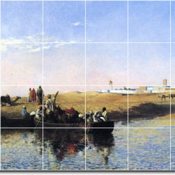 Picture-Tiles, LLC - Scene At Sale Morocco Tile Mural By Edwin Weeks - * MURAL SIZE: 32x48 inch tile mural using (24) 8x8 ceramic tiles-satin finish.