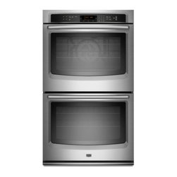 """Maytag - MEW9627AS 27"""" Double Electric Wall Oven With 4.3 Cu. Ft. Per Oven  EvenAir True - If you39re looking for the perfect wall oven this one is just right With industry-leading 86 cu ft capacity and a 10-year limited parts warranty on the elements this built-in oven is made to last The LCD touchscreen controls make it easy to select ba..."""
