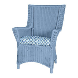 August Arm Chair - Relax and unwind in the August Dining Arm Chair. Perfectly suited for the Dog Days of summer. Tailored, yet not uptight, it's clean-lined sophistication fits into any decor. Available in any one of our 50 signature colors and 200 coordinating fabrics exclusively from Maine Cottage®.