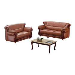 American Eagle Furniture - 7981 Cognac Bonded Leather Three Piece Sofa Set With Walnut Finish Wood Trim - The 7981 sofa set has a stylish traditional design with modern flair that will be a great addition for any living room setting. This sofa set comes upholstered in a stunning cognac bonded leather on the front where your body touches. Carefully chosen match material is used on the back and sides where contact is minimal. High density foam is placed within each piece for added comfort. The sofa set features walnut finished wood trimming adding to the overall look. The sofa set shown includes a sofa, loveseat, and chair only. The coffee table shown is NOT included.