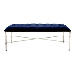 Worlds Away - Worlds Away Nickel Plated Tufted Bench with Navy Velvet Upholstery STELLA NVYN - Nickel plated tufted bench with navy velvet upholstery.