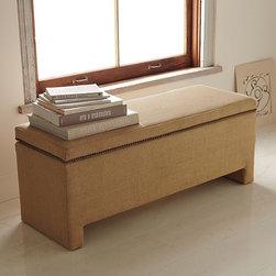 Nailhead Upholstered Storage Bench - This simple upholstered storage bench with nailhead trim would be ideal at the foot of a bed.