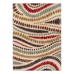 None - Lagoon 104512 Contemporary Beige Area Rug (5' x 7') - Awaken your d�cor with this simple geometric design represented in rich shades of green,brown,red,black and blue-grey that pop on a beige background. Constructed of polypropylene,this durable rug complements any versatile setting.