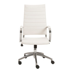 Eurostyle - Axel High Back Office Chair-White/Aluminum - Leatherette seat and back over foam