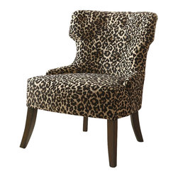 Coaster - Coaster Accent Chair in Leopard Print - Coaster - Accent Chairs - 902066 - Transport yourself each day and night with the exciting animal print upholstery of this decorative accent chair. Designed for support as well as comfort this chair features a lightly padded seat cushion and a soft tufted back. Exposed wood legs provide long lean accents while a slightly curved back creates a comfortable place to sit down and relax. A sleek armless construction creates a simplified look adding to the transitional style that this piece emotes. Decorating rooms with an exotic look this living room furniture piece complements transitional traditional and contemporary designs.
