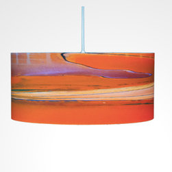 """BroadWalk Orange, 8"""" X 9"""", with Diffuser - Color up your house with the Boardwalk Orange drum pendants by Californian artist Rowan Chase. These unique lamps are constructed on white powder coated lampshade rings with Rowan Chase artwork. 100% Cotton Velvet Watercolor paper, a white 10 foot cord with porcelain fixture and white ceiling canopy. Lamps come assembled and ready for installation. They are handmade in California one shade at a time by Rowan Chase himself in his studio. Available in four sizes from 8"""" to an amazing 24"""" centerpiece which completely changes your dining, bed or living room! All shades are 9"""" tall."""