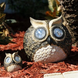 Smart Solar Garden Solar Owl Accent Lights- Set of 2 - Owls can see in the dark, and so can you with the Smart Solar Garden Solar Owl Accent Lights- Set of 2. This set of two adorable solar-powered owl lights will add a whimsical touch to your garden, patio, flower beds, or porch steps. Their eyes automatically light up at night, providing up to eight hours of illumination when the replaceable, rechargeable Ni-MH battery (included) has been fully charged by the sun. There's also an on/off switch so you can control the light.About Smart SolarDriven by a strong belief in the environmental benefits of solar power, and the realization that consumers are becoming increasingly environmentally aware with an interest in buying solar-powered products, Smart Solar was created in 2003. Based near Oxford in the U.K., Smart Solar has offices in the U.S. and Germany, and a manufacturing facility in Thailand. Smart Solar offers products including solar pumps, water features, lights, ventilators, chargers, and specialty garden items. With such a wide range of solar-powered products, Smart Solar uses an equally wide range of materials to make them, including terra cotta, ceramic, copper, slate, glass, aluminum, resin, and stainless steel. With an eye for fulfilling future consumer needs, and a heart for preserving the environment, Smart Solar is devoted to developing innovative, high-quality, and dependable solar-powered products.