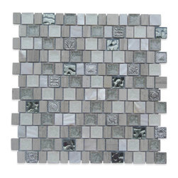 """GlassTileStore - Lotus Ivory Tusk Glass and Stone Tile - Lotus Ivory Tusk Glass and Stone Tile          These gorgeous mosaics are hand pressed and hand filled. Each glass chip are hand pressed and then filled with colored crushed glass chips tocreate an intensely faceted surface that capture and reflects light, making it look like thousand tiny diamonds. With the combination of pearl, stone, stainless steeland crushed glass this tile is great to use as a back splash, or any decorated spot in your home.          Chip Size: 1x1, 1""""x 3/4""""   Color: White, Wooden Beige, Gray, Light Green, Silver   Material: Stone, Glass, Pearl and Decos   Finish: Polished   Sold by the Sheet - each sheet measures 12""""x12"""" (1 sq. ft.)   Thickness: 8mm   Please note each lot will vary from the next.            - Glass Tile -"""