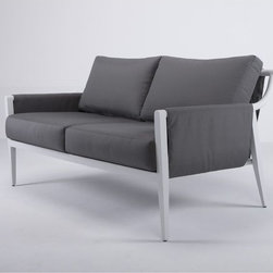 Dean Outdoor Sofa - The Dean outdoor sofa has an aluminum frame that is wrapped with an all-weather polypropylene fabric. Matching arm chairs and coffee table are also available.