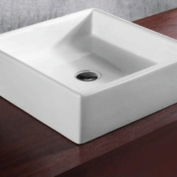 "Caracalla - Elegant Square White Ceramic Vessel Bathroom Sink - Elegant above counter vessel sink designed in Italy by Caracalla. Modern square sink made of high quality white ceramic. Sink designed with no overflow or faucet holes. Sink dimensions: 18.30"" (width), 5.63"" (height), 18.50"" (depth)"