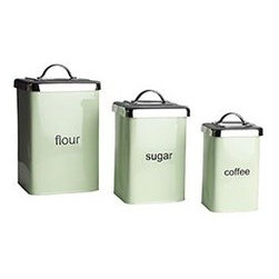 Mint Green Metal Canisters - These retro canisters are perfect for adding mint to your kitchen.