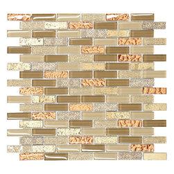 "Mosaic Decor - Brown Gold Glass Travertine Mosaic Kitchen Backsplash Tile, 12"" X 12"" Sheet - Brown gold color mixed. Glass travertine mosaic kitchen backsplash tile."