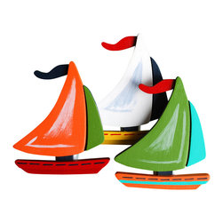 "Little Elephant Company - Baby Boats Quilt Clips set of 3 - Beautiful quilt clips that transform your treasured baby quilts and comforters into charming hanging artwork for your child's room.    Very easy to use.  ***     The hand painted set is three (3) classy sailboats.    The first sailboat has a large leaf green sail, an aqua small sail, a red flag, and an orange and aqua hull with navy stripes.      The second sailboat has a large orange sail, a leaf green small sail, a navy flag, and a red hull with navy strips.      And the third sailboat has a large white sail, a navy small sail, a red flag, and a dark yellow hull with red strips.      These quilt clips are perfect for nautical and transportation themed bedding sets.     Each sailboat measures 3.88 inches x 3.38 inches.     How many quilt clips do I need?  - For a quilt that is still stiff and new, you will only need 2 quilt clips for up to 36 inches wide. Many people will do 3 quilt clips just for the look, though. For a quilt that has been washed and is pliable, 2 clips will be sufficient for up to 36 inches, but you may want 3 clips to help keep the center from sagging. For a quilt 36 to 42 inches wide, use 3 to 4 clips. For a quilt 42 to 50 inches, use 4 to 5 clips.    How do the quilt clips work?  - The only hardware is needed is a long nail, approximately 1 1/2"" to 2 1/2"" in length.  - Measure how far apart you would like the clips to be.  - Decide how high on the wall they will be placed and mark your first spot. Using a level, measure out and mark the second spot.  - Place your nails into the wall at a 45 degree angle. IMPORTANT: If your nail is not at a 45 degree angle, the clip may slip off the nail.  - Clip the quilt and slide the back of the clip over the nail.    What are the clips made of?  - Designs are made of layered wood. A few of our designs also have layered felt.   - Clips on the back are a sturdy plastic so as not to damage your fabric."