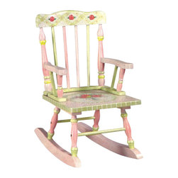 Teamson Design - Teamson Kids Crackled Rose Room Hand Painted Girl's Rocking Chair - Teamson Design - Kids Rocking Chairs - W5686G. This is a great hand painted crackle finished children's rocker! It has beautiful designs and goes great with our Pink Crackle Collection!